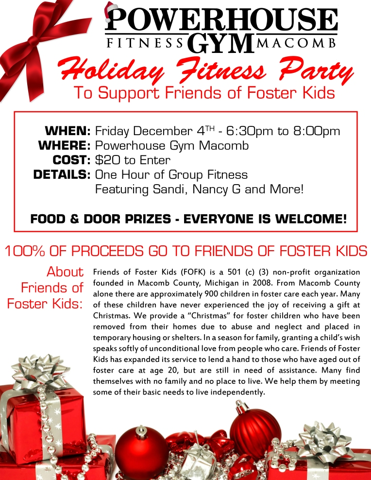 Powerhouse Gym Holiday Fitness Party to Support Friends of Foster Kids